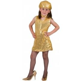 Déguisement Disco Robe Or Sequin et Collier Enfant