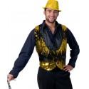 Déguisement Gilet Cabaret Sequin Or et Noir Homme