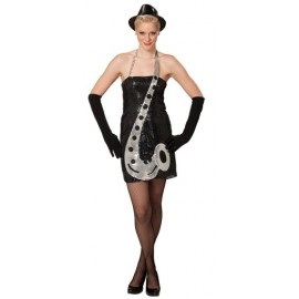 Déguisement Robe Sequin Noir Saxophone Luxe Femme
