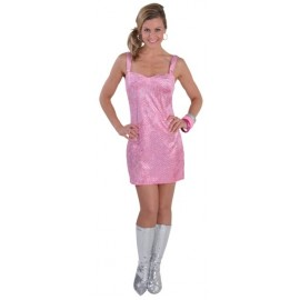 Costume Disco Robe Rose Sequin Chic Deluxe Femme