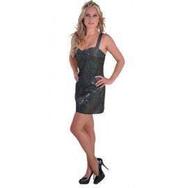 Déguisement disco noir sequin femme chic luxe