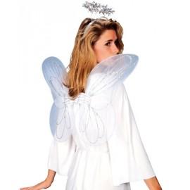 Ailes d'ange blanches avec auréole femme