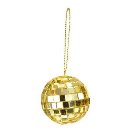 Boule Facettes or 6 cm avec lien de deco les 2