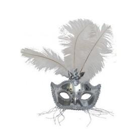 Masque Vénitien Argent avec plumes et strass adulte