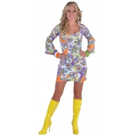 Déguisement 70's hippie robe cool chic deluxe femme
