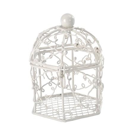 bonbonniere cage a oiseaux blanche a dragees
