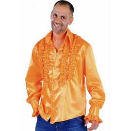 Déguisement Disco Hippie Chemise Orange Deluxe Homme