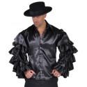Déguisement Samba Chemise Noire Satin Deluxe Homme