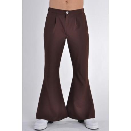 Déguisement hippie disco pantalon brun homme luxe