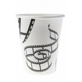 Gobelets Cinéma Carton Blanc Motif Pellicules de Film les 10