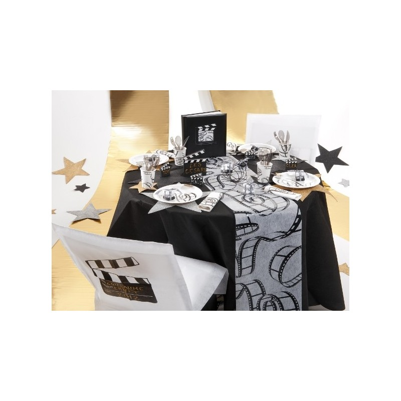 serviette de table cin ma en papier blanc cass les 20. Black Bedroom Furniture Sets. Home Design Ideas