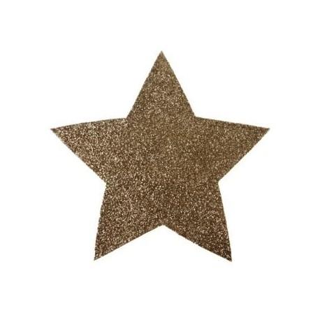 Mini set de table étoile or pailletée 15 cm les 2