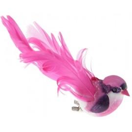 Oiseau Fuschia en Plumes sur Pince 12 cm les 2