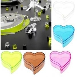 Boîtes à dragées Coeur Transparent Couleur 6 cm les 6