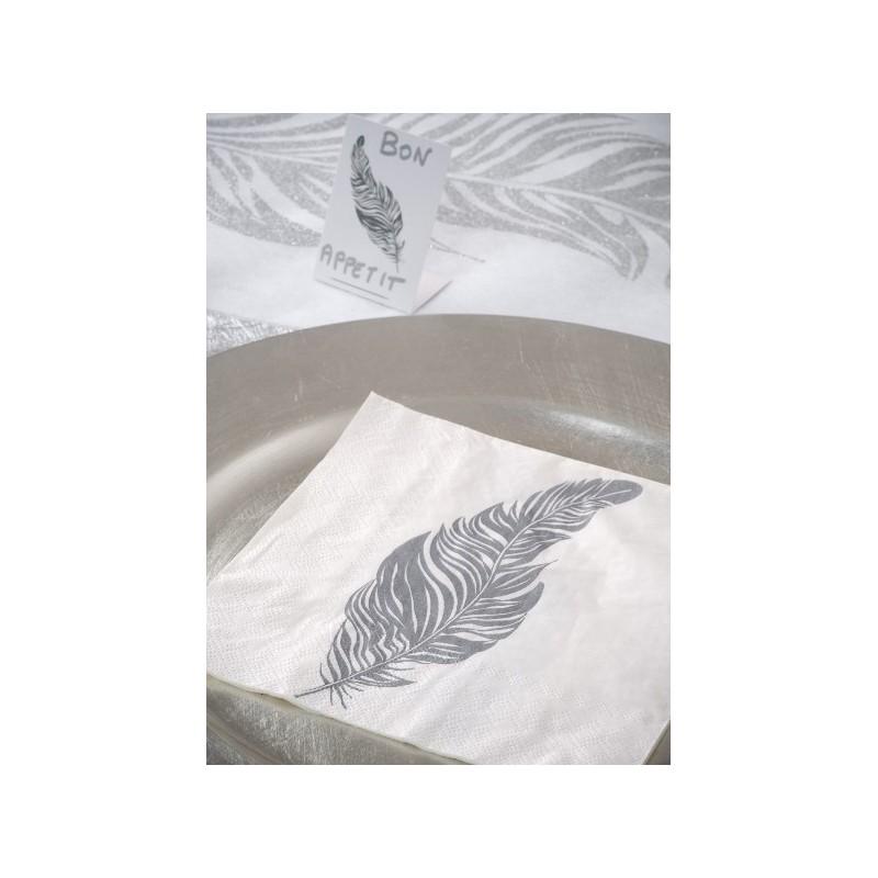 serviette de table plume blanc cass plume gris fonc en papier les 20. Black Bedroom Furniture Sets. Home Design Ideas