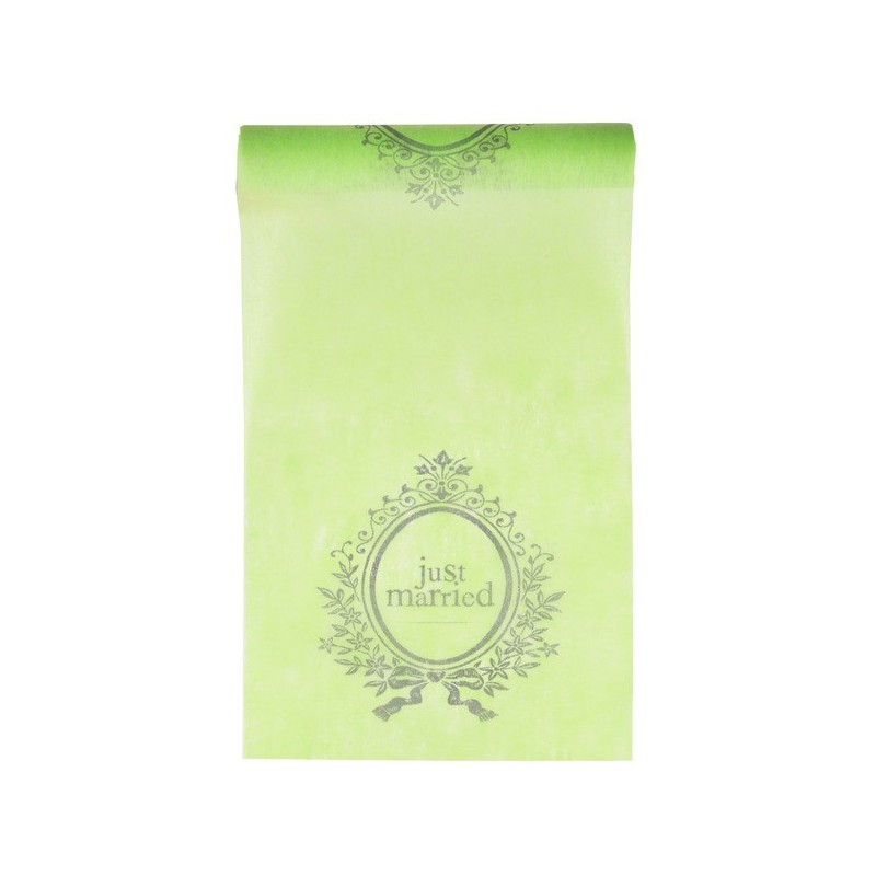 Chemin de table just married intiss vert anis chemin de for Chemin de table plastique
