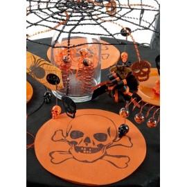Sets de Table Ronds Tête de Mort Intissé Orange les 6