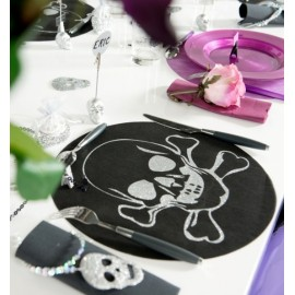 Sets de Table Ronds Tête de Mort Intissé Noir les 6