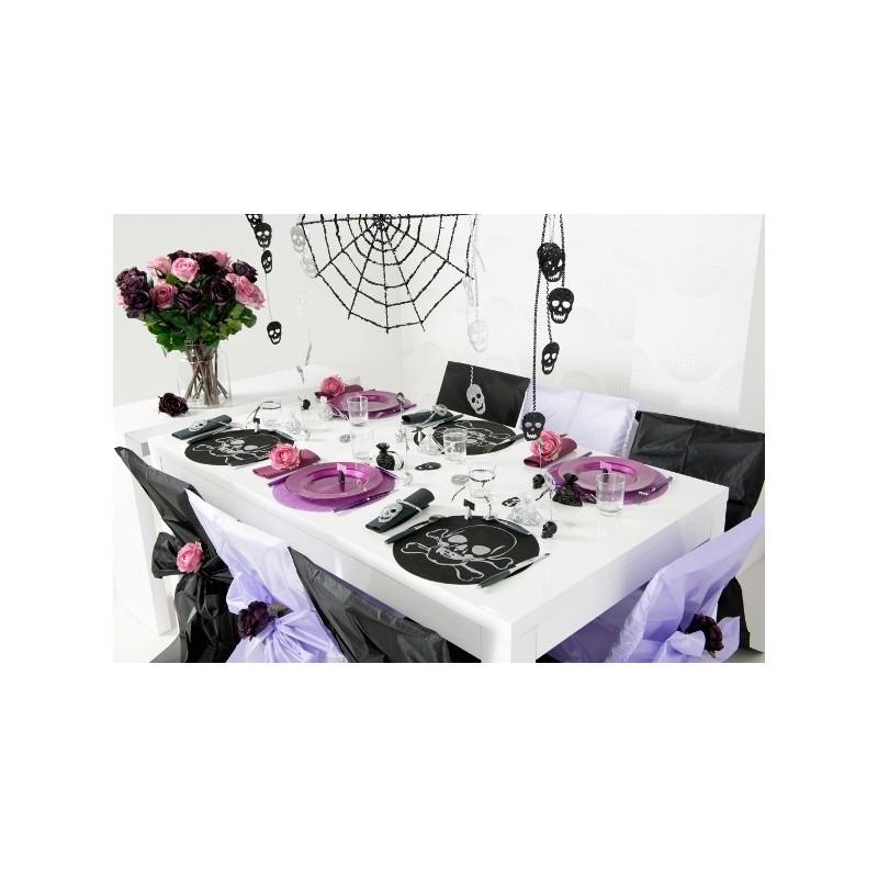 sets de table ronds t te de mort intiss noir les 6. Black Bedroom Furniture Sets. Home Design Ideas