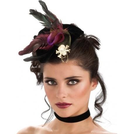 Mini chapeau pirate gothique noir avec plumes rouges et noires