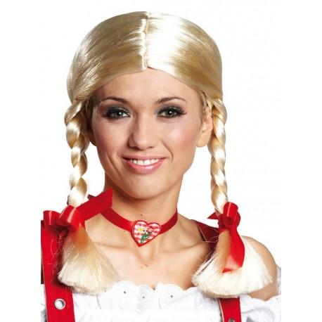 Perruque Gretchen Blonde Deluxe avec Noeuds Femme