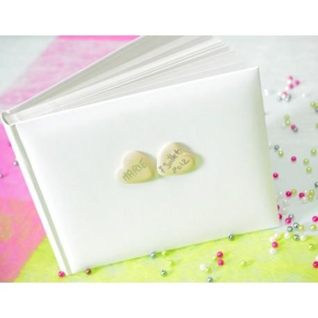 Livre d or blanc coeur bois livre d or mariage et fete