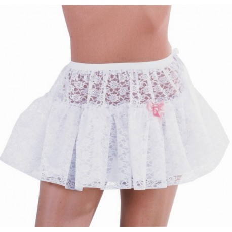 Costume Jupon Court Dentelle Blanche Luxe Femme