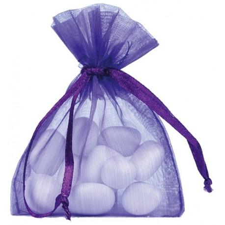 Sachet à dragées organdi violet les 10