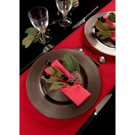 Chemin de Table Floqué Rouge Intissé Velours Chic