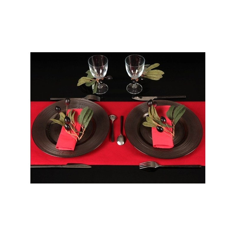 Chemin de table floqu rouge intiss velours chic - Chemin de table chic ...