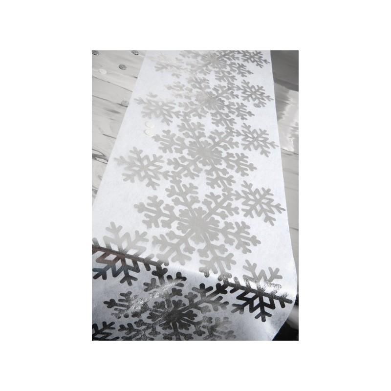 Chemin de table flocon de neige argent intiss blanc for Chemin de table blanc