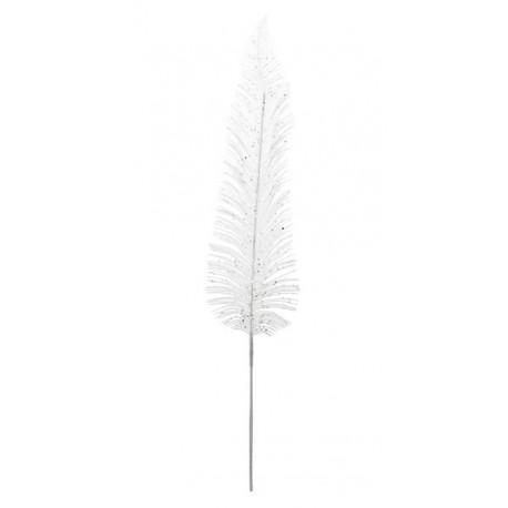 Feuille Palme Pailletee Blanche Deco Festive 92 cm