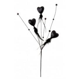 Piquet Coeurs Pailletes Noirs avec Plumes Perles 48 cm