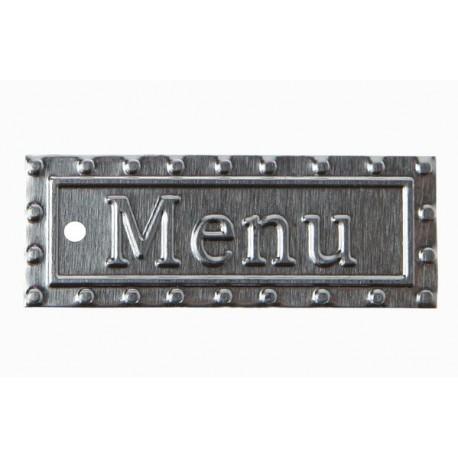 6 Etiquettes Menu Metal Argent pour menu fete
