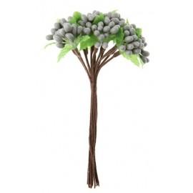 Baie grise avec feuilles en bouquet sur tige les 12