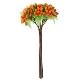 Baies Orange Avec Feuilles en Bouquet sur Tige les 12