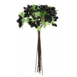 Baies Noires Avec Feuilles en Bouquet sur Tige les 12