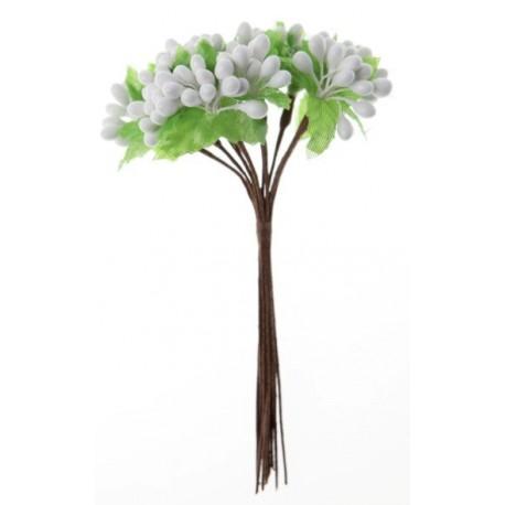 Baies Blanches Avec Feuilles en Bouquet sur Tige les 12