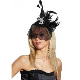 Mini chapeau sorciere gothique noir chic a voilette avec araigne