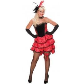 Déguisement Cancan Rouge Noir Deluxe Femme