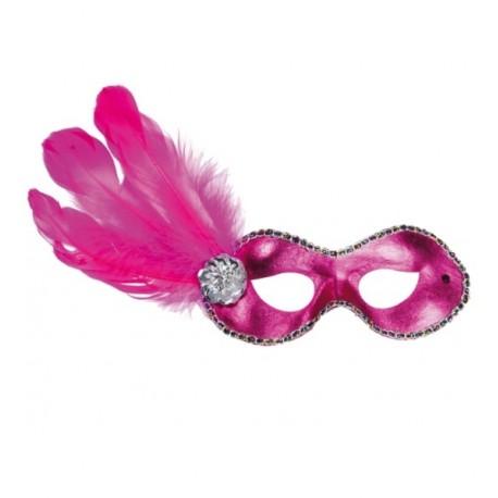Masque Venitien Loup Domino Pink Avec Plumes Adulte