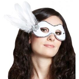 Masque Venitien Loup Domino Blanc Avec Plumes Femme