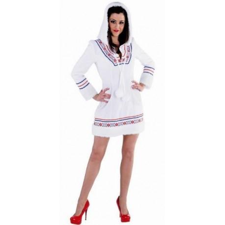Costume Déguisement eskimo(esquimau) blanc deluxe femme