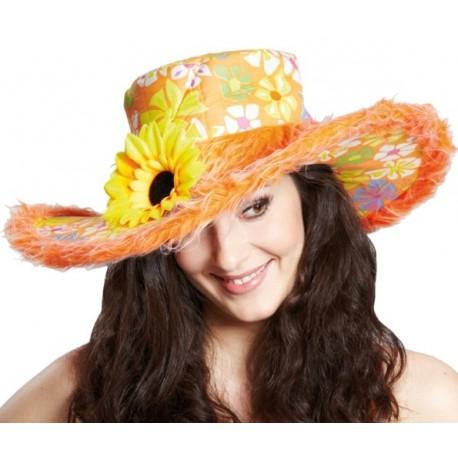 Chapeau Flower Power Hippie Orange Adulte