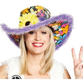 Chapeau Flower Power Hippie Lilas Adulte