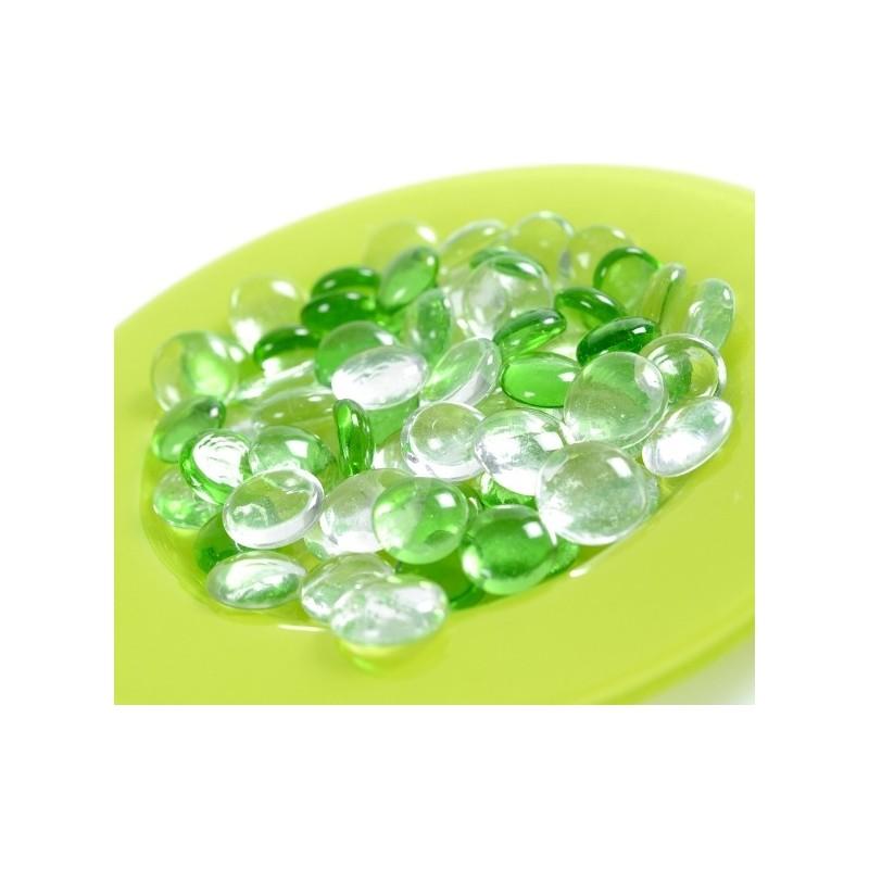 Galets couleur transparents en verre les 12 : Galets en verre décoratifs