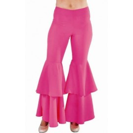 Costume Pantalon Hippie Disco Pink (Rose) Deluxe Femme