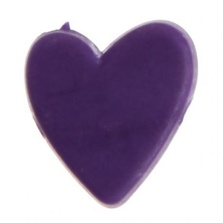 12 Perles Petit Coeur Acrylique violet prune de Deco