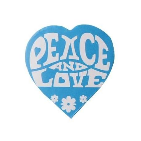 50 Confettis Hippie Coeur turquoise Autocollant 2 cm
