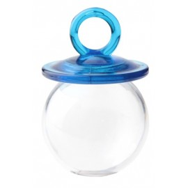 Boites Dragées Tétine Turquoise Tranparente 6.7 cm les 4